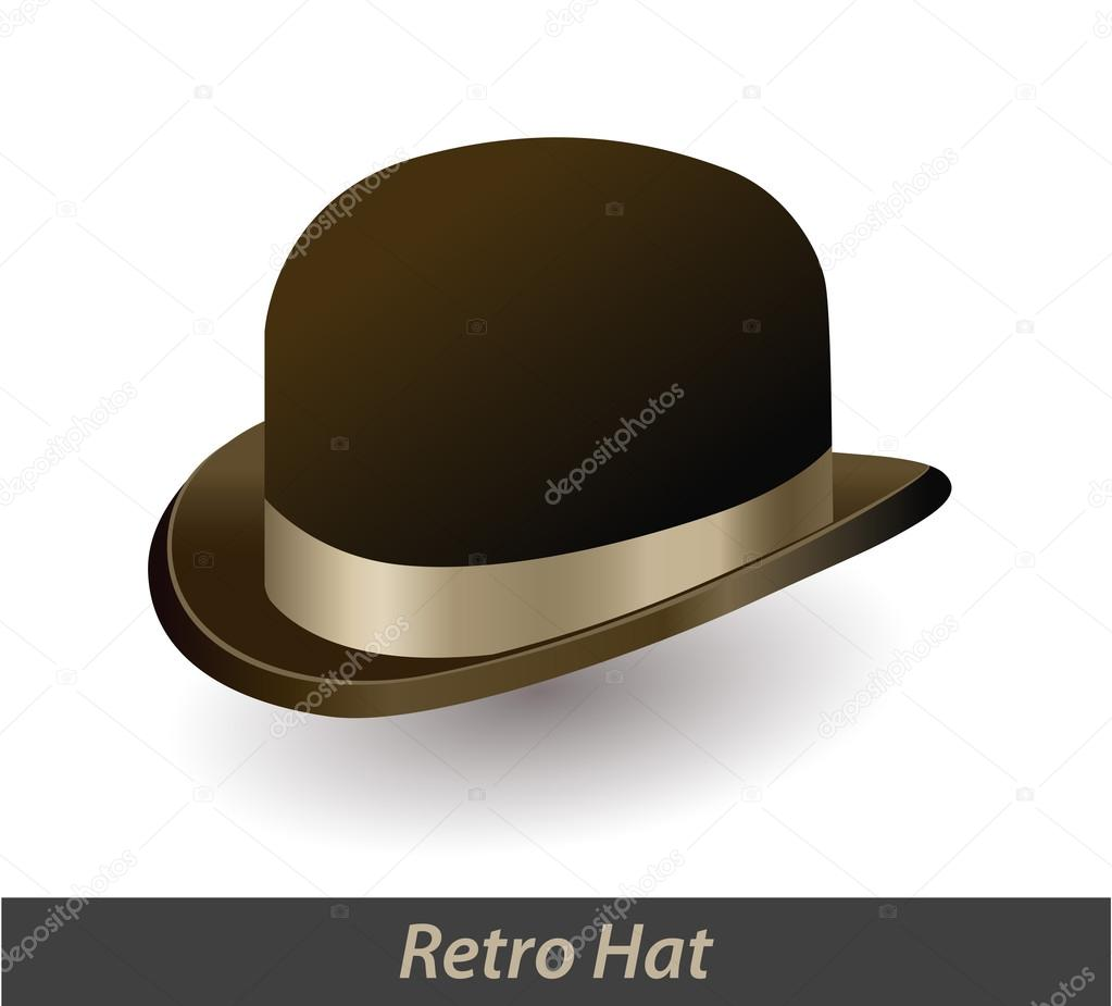 Brown vintage bowler hat with a bow isolated on white