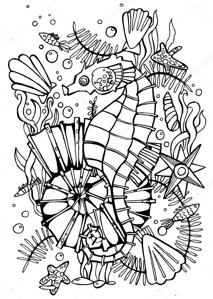 Hand drawn coloring page sea horse.