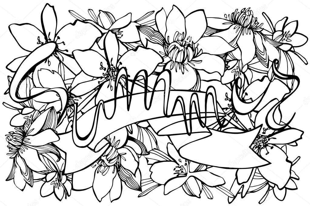 Hand drawn coloring page summer
