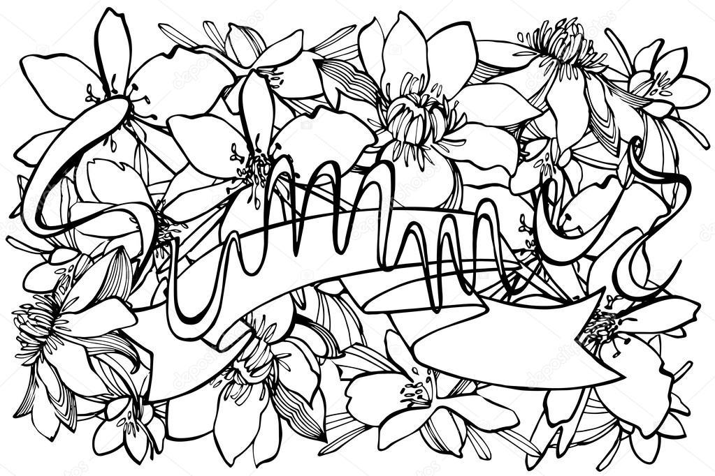 Colorear verano página dibujados a mano — Fotos de Stock © Asetrova ...