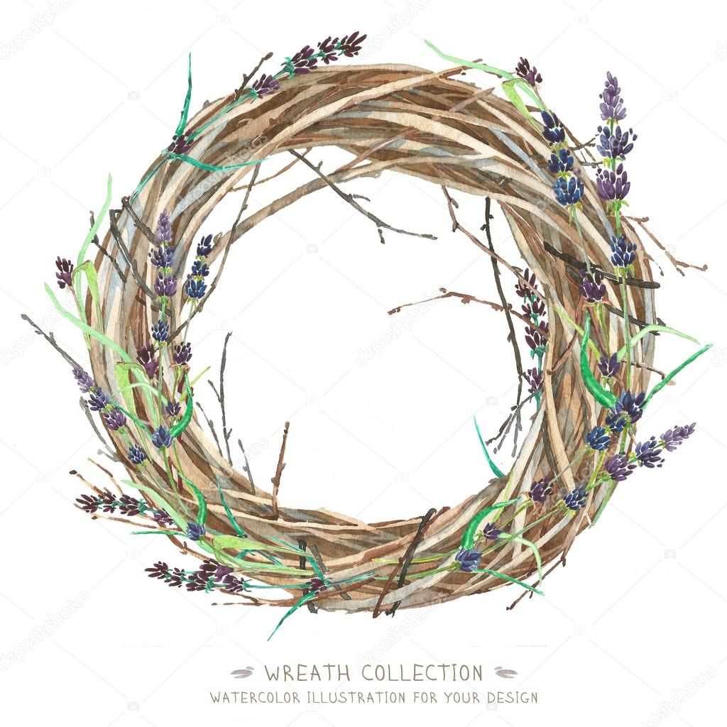Whatercolor Wreath whis lavender