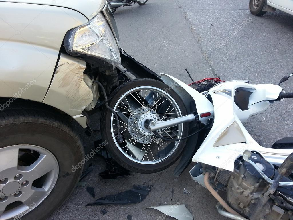 Crash Accident between pickup truck and motorcycle