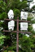 Group of outdoor halogen  spotlight mounted on tower