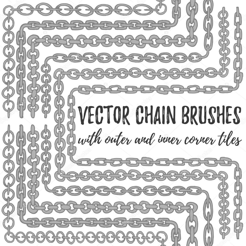 6er Set vektor hand gezeichneten Silberkette Bürsten — Stockvektor ...