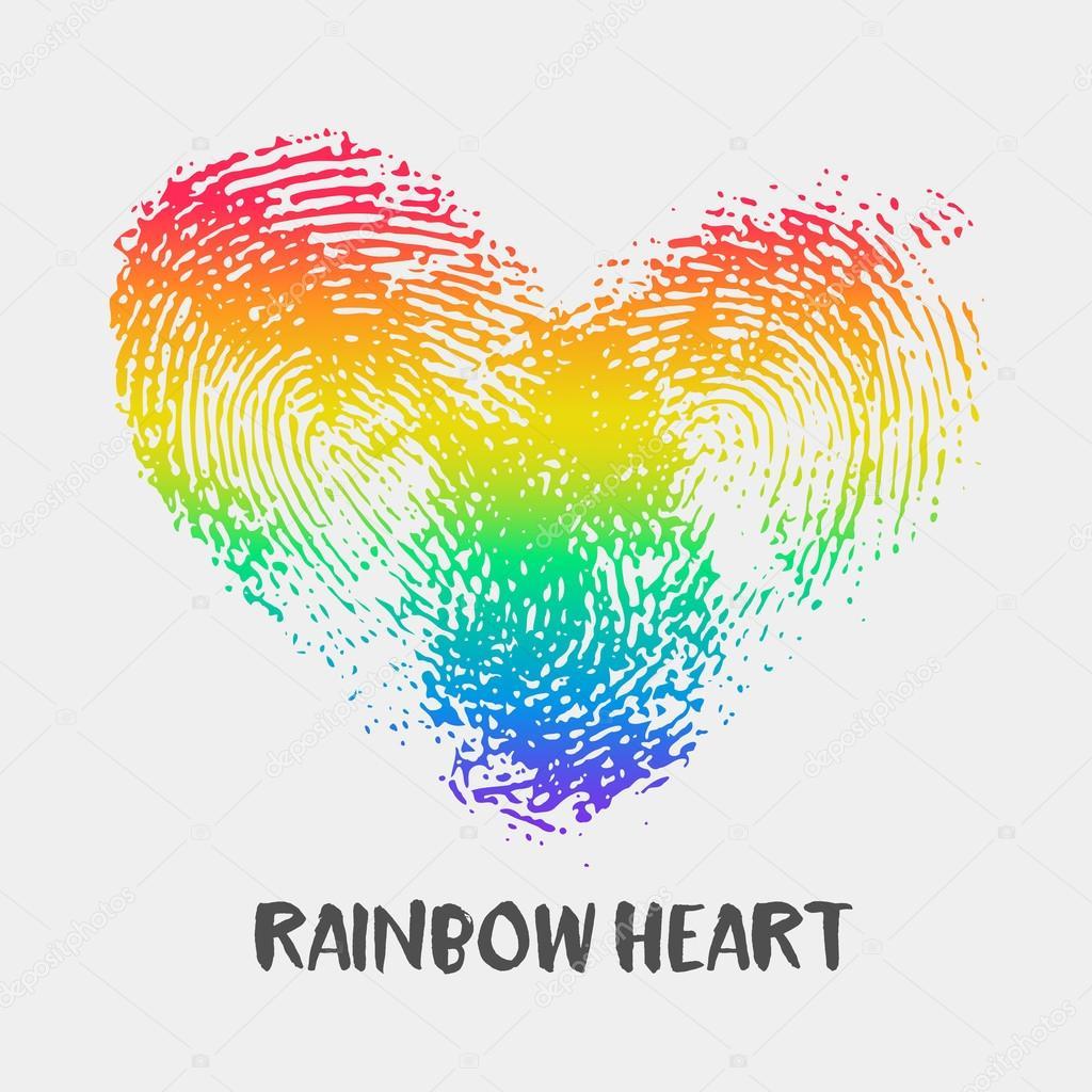 conceptuele logo met vingerafdruk regenboog hart
