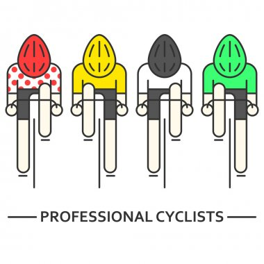 Flat bicyclists in yellow, green,