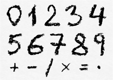 Hand written vector charcoal numbers