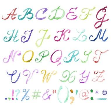 Hand drawn watercolor alphabet.
