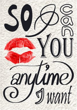 Romantic phrase made of different hand drawn fonts.