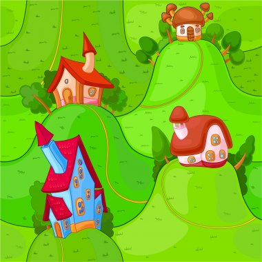 Little fairy houses are located on the merry green hillocks stock vector