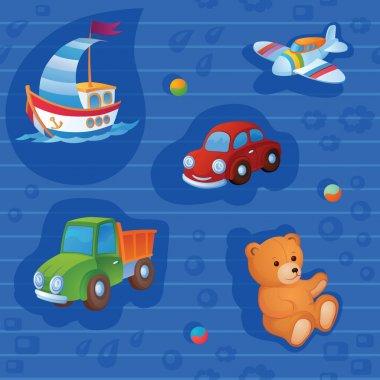 """Картина, постер, плакат, фотообои """"фоном являются разные игрушки ."""", артикул 62889973"""