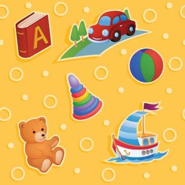 """Картина, постер, плакат, фотообои """"фоном являются разные игрушки ."""", артикул 62890123"""