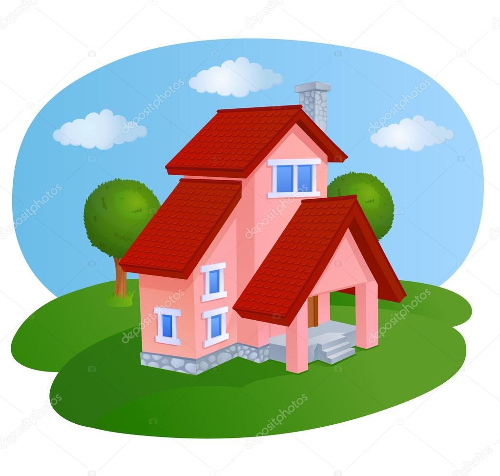 Cartoon house with roof vector de stock polyudova 62890629 - Houses attic families children ...
