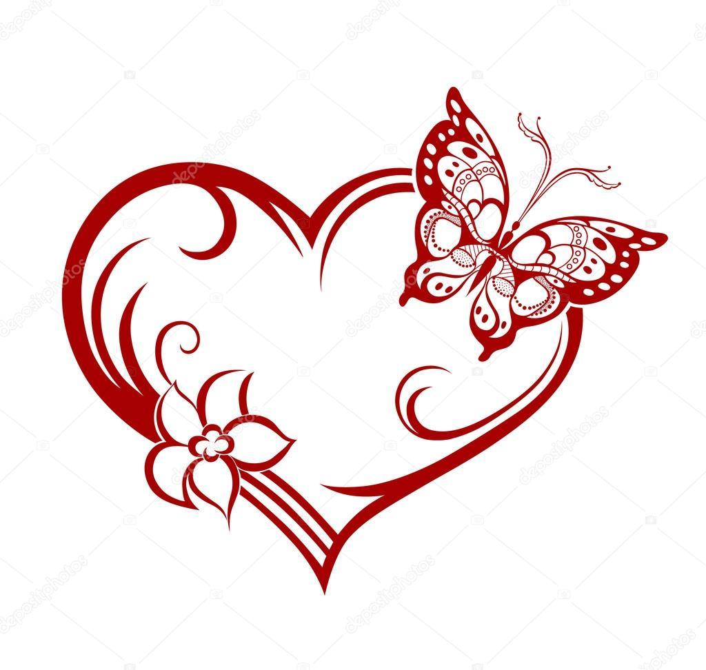 Schmetterling Mit Herz Silhouette Stockvektor 64824653