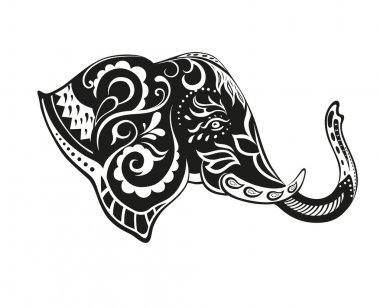 Elephant in the festive patterns