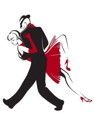 Dancing tango couple