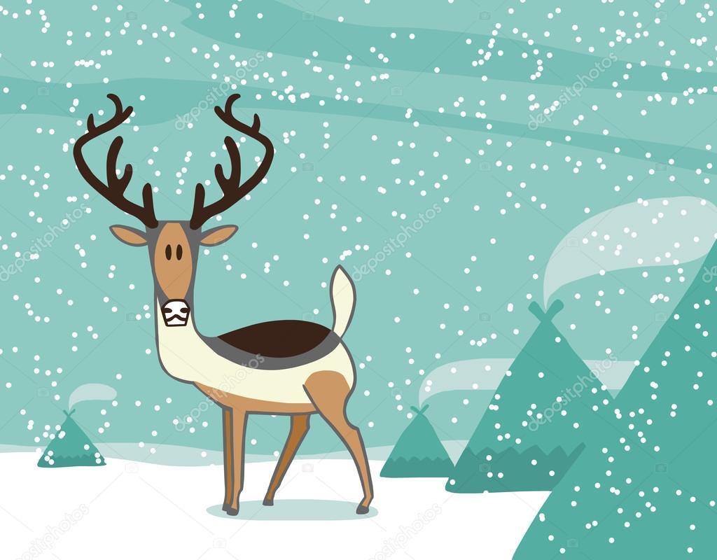 Dibujos Animados De Renos En El Polo Norte