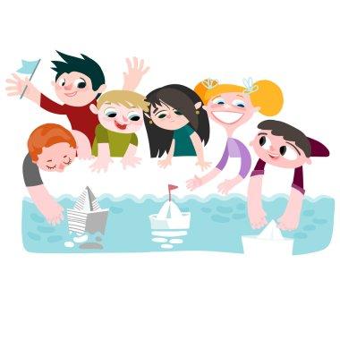 Children run boats