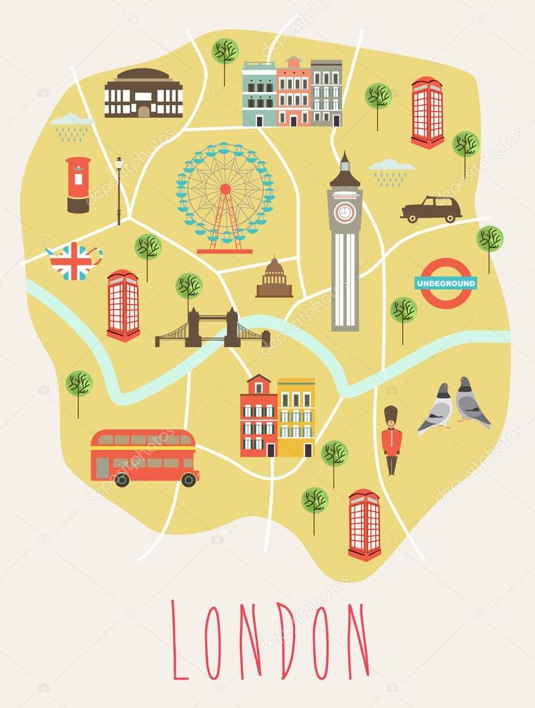 London Landmarks Map.London Landmarks Map Stock Vector C Miobuono12 110604580