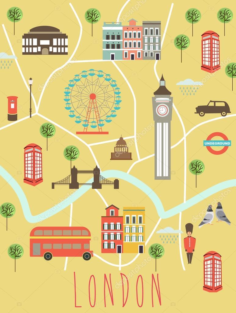 Map Of Landmarks In London.London Landmarks Map Stock Vector C Miobuono12 110604616