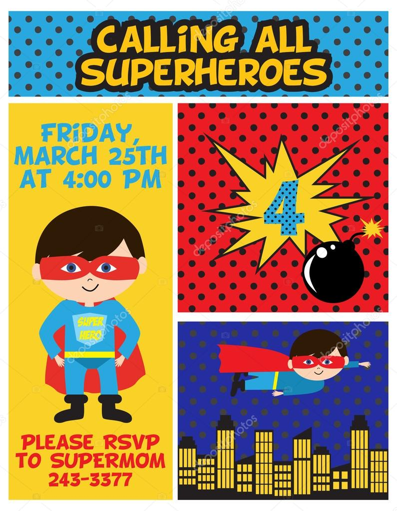 superhero birthday party stock vector miobuono12 63392021