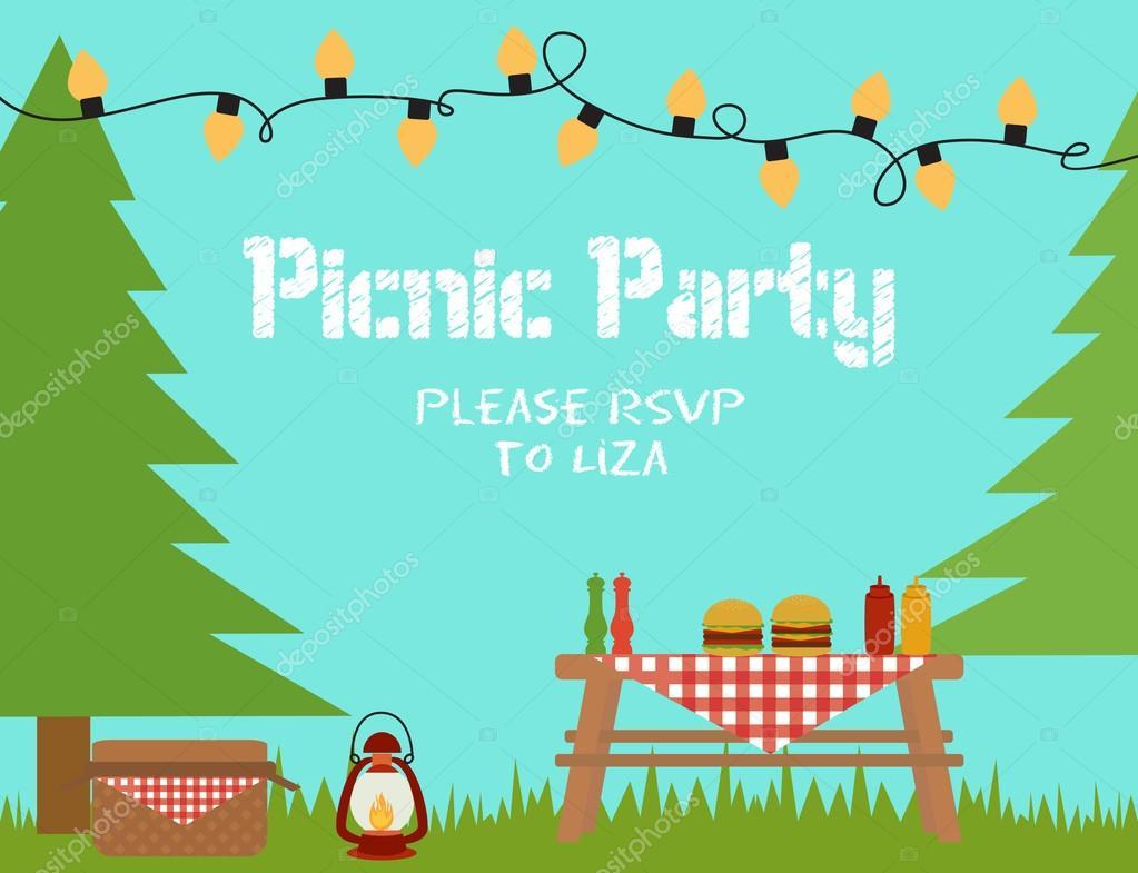Invitacion Cumple Picnic Feliz Cumpleaños Vector De