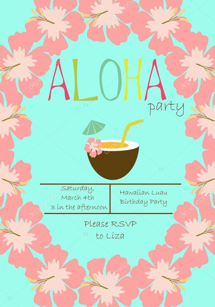 ᐈ Invitaciones Para Fiesta Infantil Hawaiana Vectores De