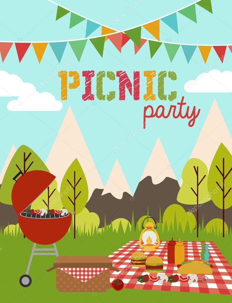 Festa piquenique vetores de stock miobuono12 64392295 picnic party invitation card for birthday party vetor de miobuono12 stopboris Images