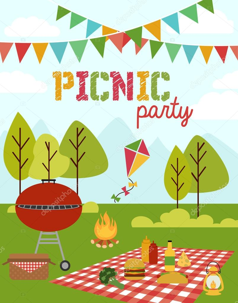 Festa piquenique vetores de stock miobuono12 64392297 picnic party invitation card for birthday party vetor de miobuono12 stopboris Images