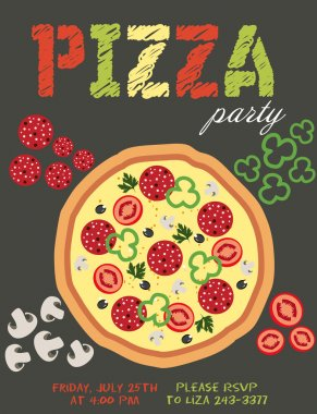 Pizza party invitation card with stock vector