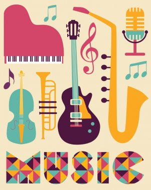 Set of musical instruments that can be used to create icons, cards, posters for concerts and festivals stock vector