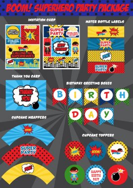 Super hero birthday invitation card