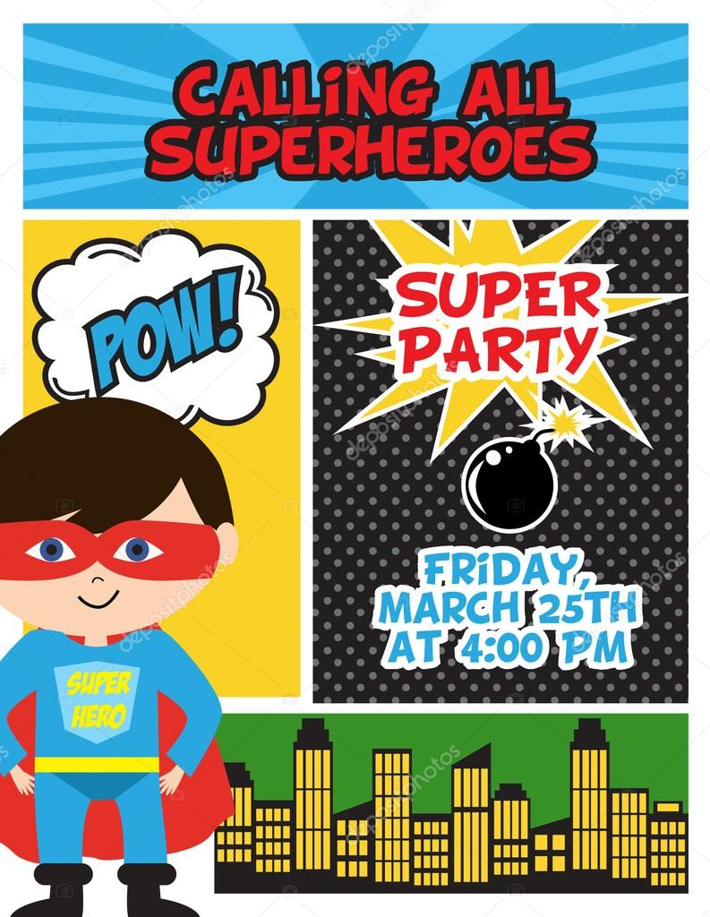 Super hero birthday invitation card — Stock Vector © MioBuono12 ...