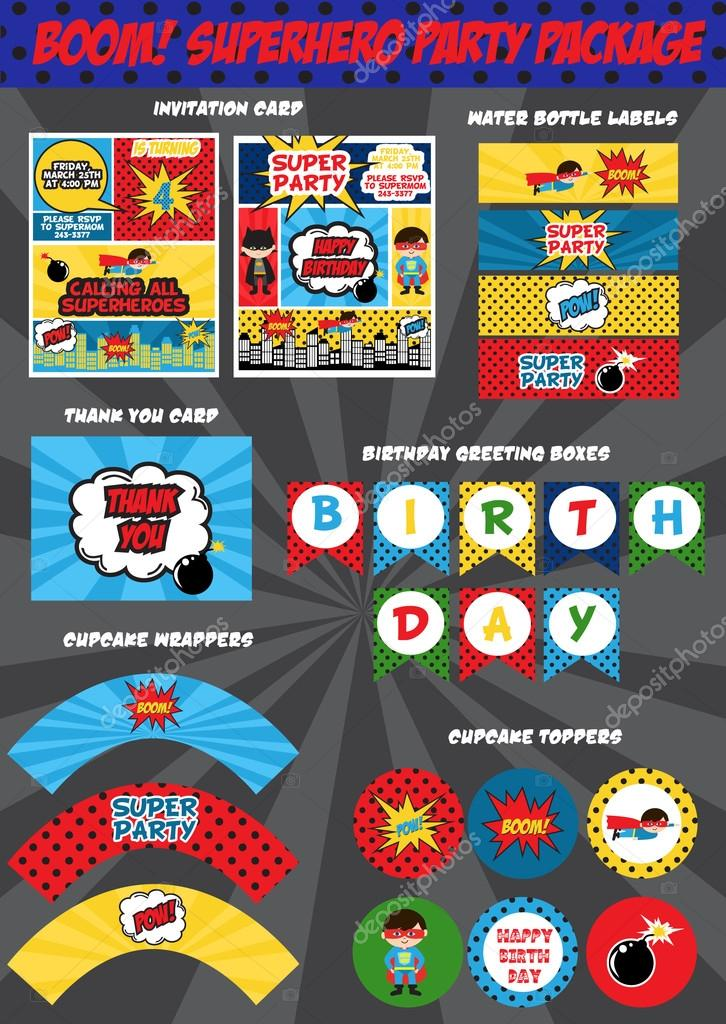 Cartão De Convite De Aniversário De Super Herói Vetor De Stock