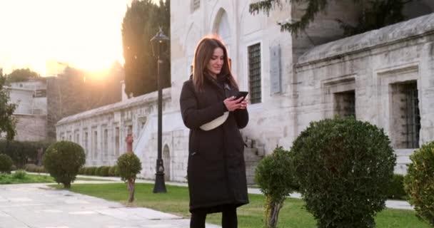 gyönyörű nő fekete kabátban ír sms, egy történelmi parkban, naplemente