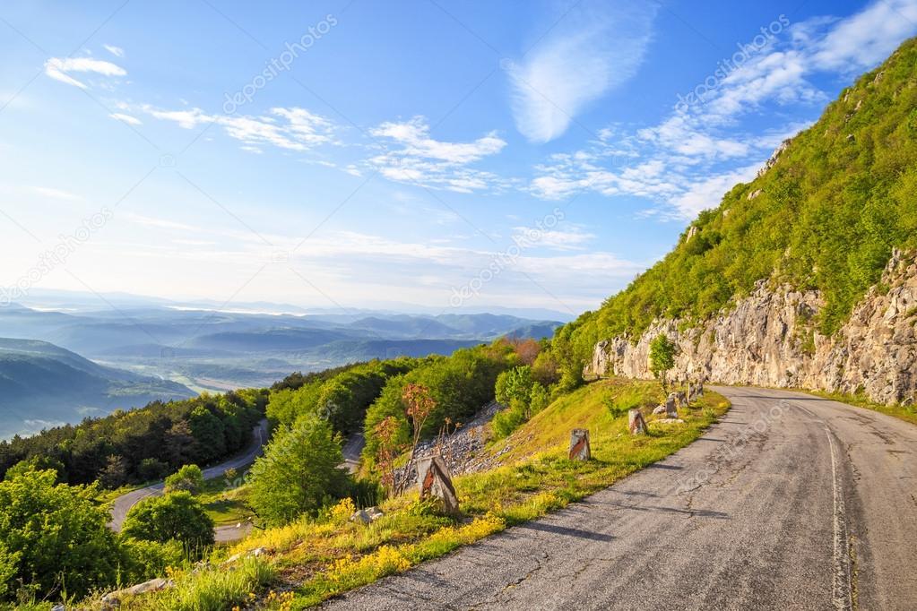 Winding mountain road in Balkan Mountains