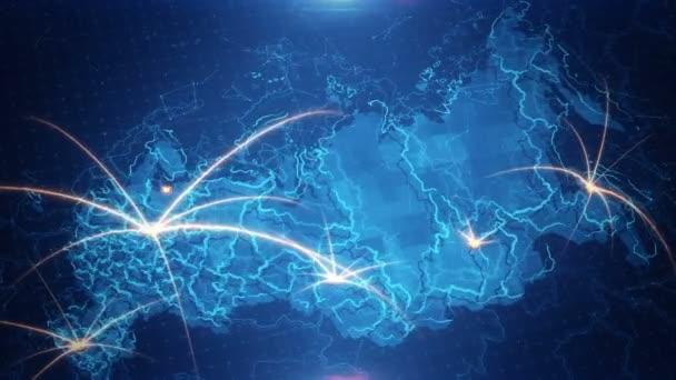 Mapa Ruska s animovaným pozadím.