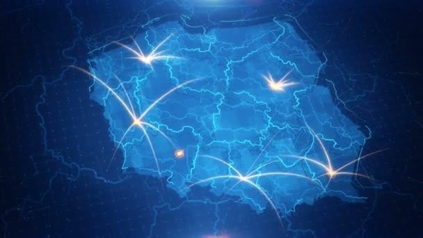 Mapa Polska s animovaným pozadím
