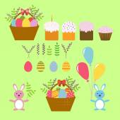 Fotografie Set of Vector Design Elements for Happy Easter in the Flat Stile