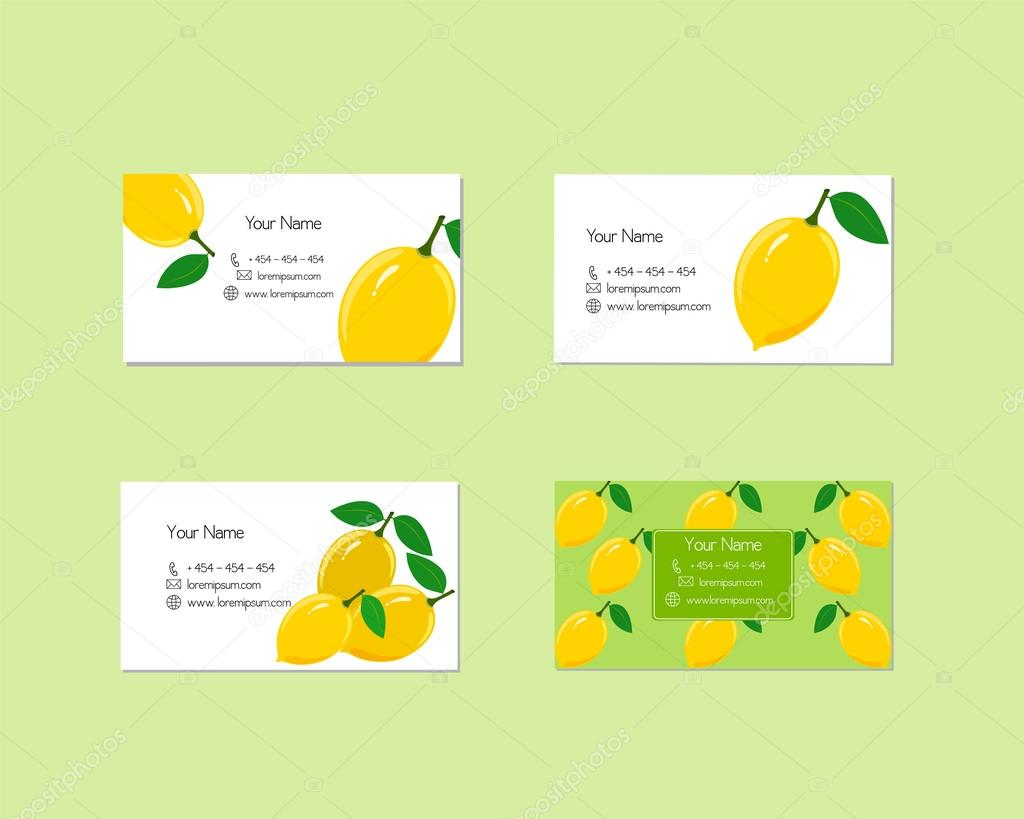 Business cards with ripe juicy lemon fruit stock vector business cards with ripe juicy lemon fruit stock vector reheart Image collections
