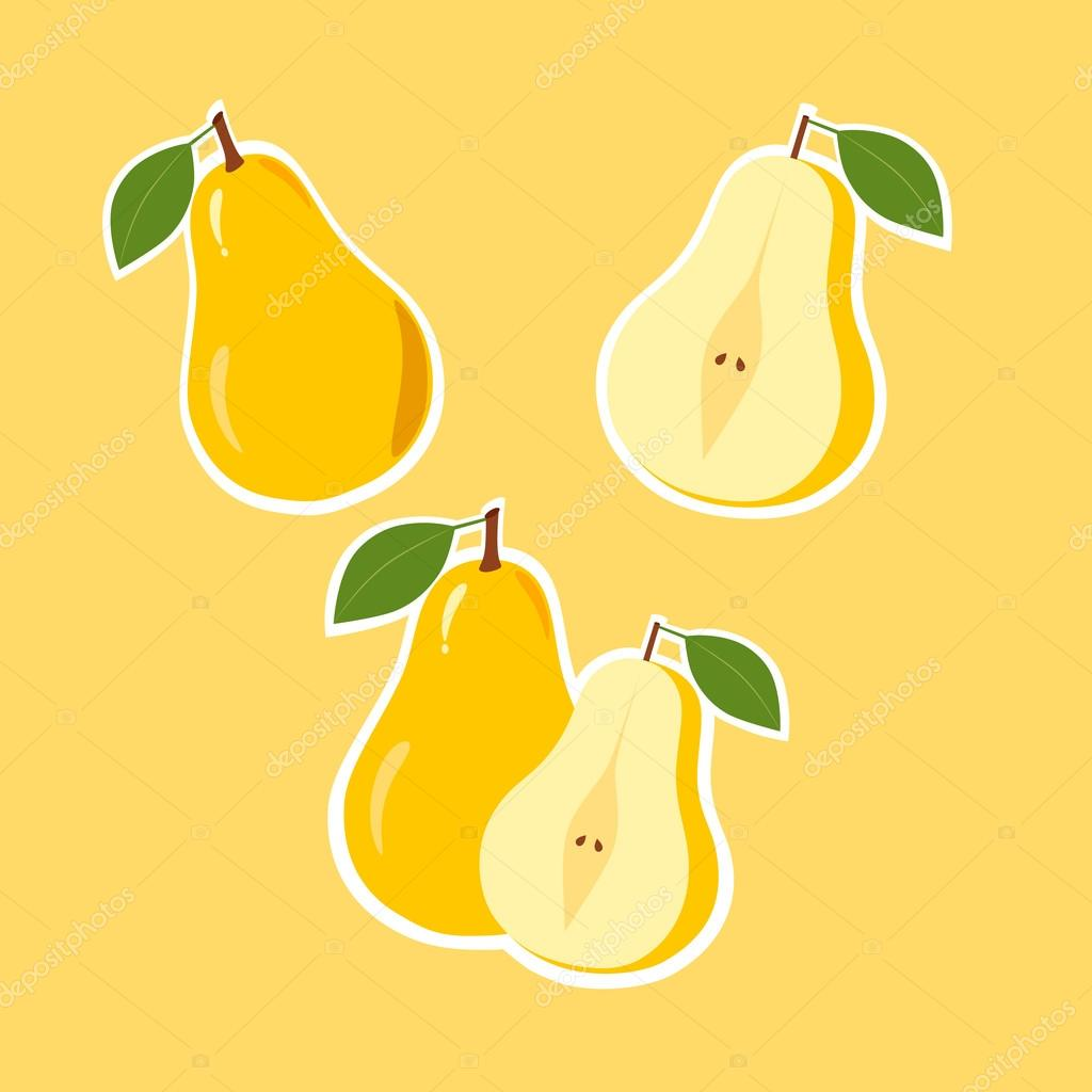 Design Stickers with Ripe Juicy Pear.