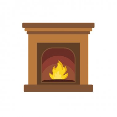 Cozy Christmas fireplace in flat style vector format
