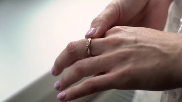 Bride or wife with marriage wedding ring on her hand. Just married woman