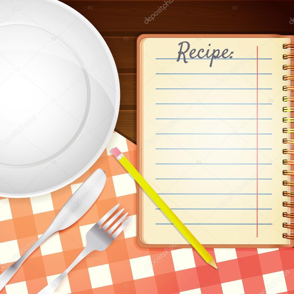 Modello per un libro di cucina. Piatto, forchetta e coltello ...