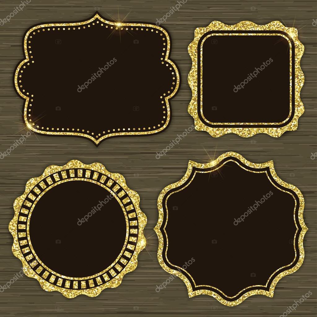 Set of 4 gold glitter frames — Stock Vector © jadiskailie #93442420