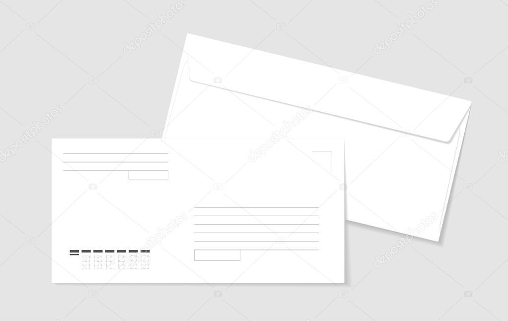 Dos sobres de papel blanco con líneas para la dirección y la forma ...