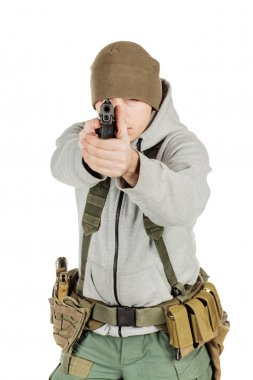 rebel or private military contractor holding black gun. war, arm