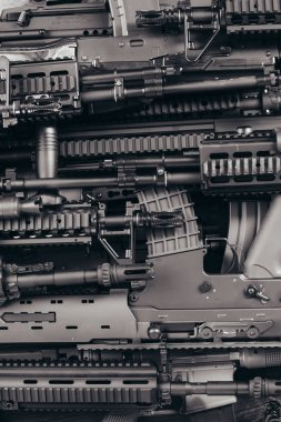 Details of many  confiscated modern rifles supplied smuggled. detained party of illegal weapons. stock vector