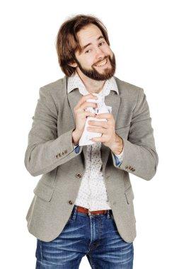 businessman against white background