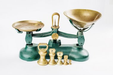 weigh and measure measuring scale with old brass trays isolated